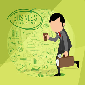 Illustration of a walking businessman holding paper glass and his bag on various business infographic elements background.