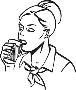 Illustration Of A Water Drinking Lady.