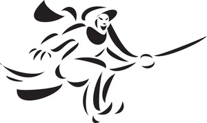 Illustration Of A Witch Flying On Broom.
