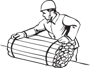 Illustration Of A Worker With Wooden Bundle.