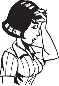 Illustration Of A Worried Lady.