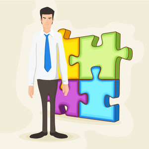 Illustration of a young business man on colorful puzzle pieces background.