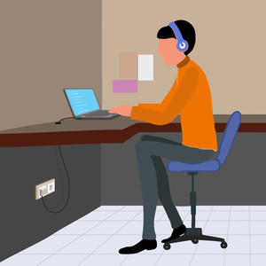 Illustration of a young businessman working on laptop and wearing headphone on stylish background.