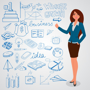 Illustration of a young businesswoman presenting various business infographic elements on grey background.