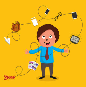 Illustration of a young happy business man with various useful things on yellow background.