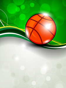 Illustration Of Basketball On Green Wave Background With Text Space For Your Message.