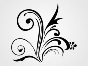 Illustration Of Black Floral Tattoo
