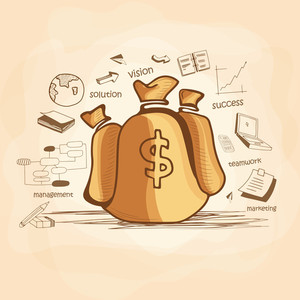 Illustration of brown money bag with various statistical infographic elemnents for business or corporate sector.