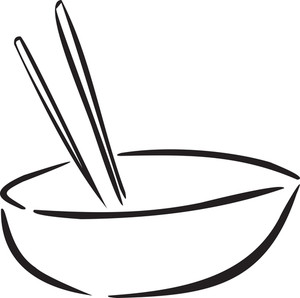 Illustration Of Chinese Bowl With Chopstick.