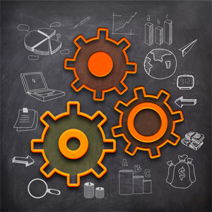 Illustration of cogwheels with various statistical infographic elements created on chalkboard background.