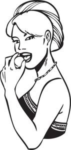 Illustration Of Eating Lady.