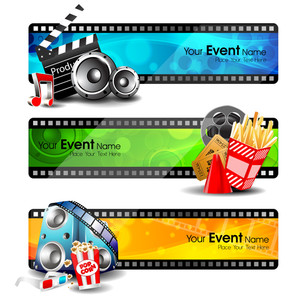 Illustration Of Film Stripe With Entertainment Object S And Ribbon Isolated On Grey Background 10