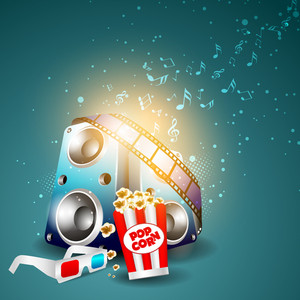 Illustration Of Film Stripe With Entertainment Objects On Musical Notes Background