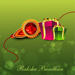 Illustration Of Gift Boxes With Golden Ribbon And Rakhi For Raksha Bandhan Celebration
