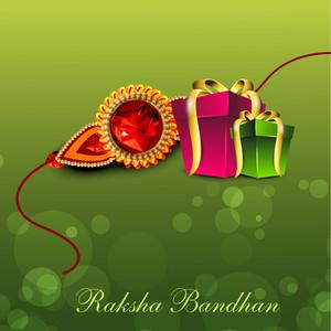 Illustration Of Gift Boxes With Golden Ribbon And Rakhi For Raksha Bandhan Celebration