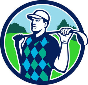 Illustration of golfer wearing argyle vest and hat holding golf club on shoulder looking to the side with trees in the background set inside circle done in retro style.