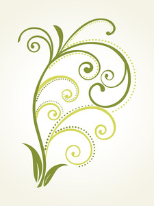 Illustration Of Green Curve Filigree Pattern