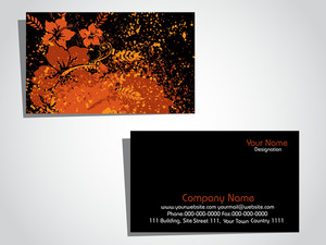 Illustration Of Grungy Floral Pattern Business Card