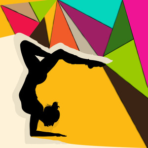 Illustration Of Gymnastic Girl On Colorful Abstract Background