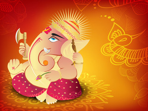 Illustration Of Hindu Lord Ganesha.