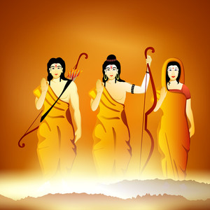 Illustration Of Hindu Lord Shri Rama With His Wife Mata Sita And Brother Laxman On Shiny Background.