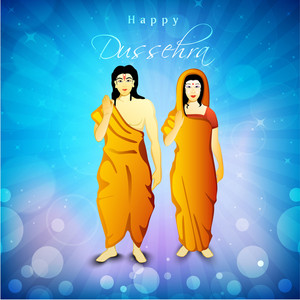 Illustration Of Hindu Lord Shri Rama With His Wife Mata Sita On Blue Rays Background.