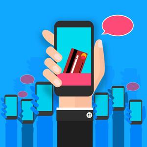 Illustration of human hand holding smartphone on shiny sky blue background.