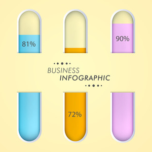 Illustration of lab wares with colorful solutions for Business Infographic concept.