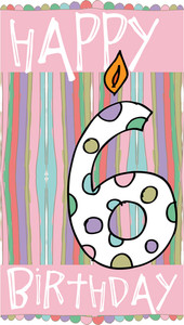 Illustration Of Number 6 Birthday Candles With Colorful Background. Vector Illustration