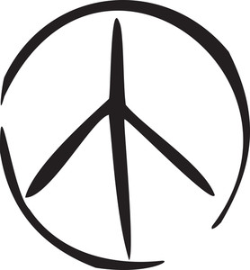 Illustration Of Peace Symbol In 1970's Style.