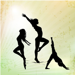 Illustration Of Rhythmic Gymnastic Girls On Abstract Background