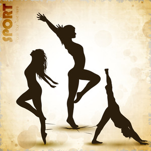 Illustration Of Rhythmic Gymnastic Girls On Grungy Abstract Background. Eps10.
