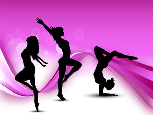 Illustration Of Rhythmic Gymnastic Girls On Pink Wave Background