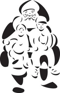 Illustration Of Santa With Kids.