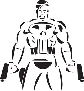 Illustration Of Superhero Character With Gun.