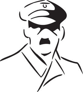 Illustration Of The Face Of A Officer Of Wwii.
