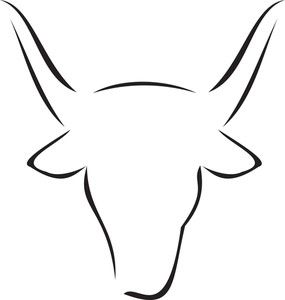 Illustration Of The Face Of Cow.