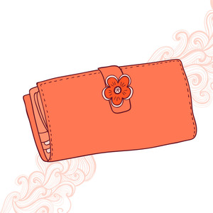 Illustration Of Wallet With Flower And Abstract Grange Background. Girlish Purse With Flower. Female Purse For Money