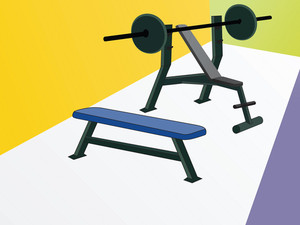 Illustration Of Weightlifting Bench And Weights
