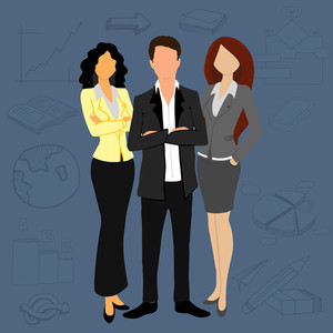 Illustration of young business man and women standing on variouns business infographic elements background.