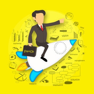 Illustration of young businessman flying on rocket and holding start up business bag on various business infographic elements