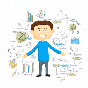 Illustration of young businessman with various colorful business infographic elements for your print