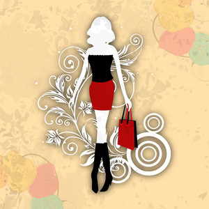 Illustration Of Young Fashionable Girls On Abstract Background