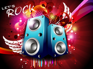 Illustration On A Musical Theme Colourful Lights Abstract Background  With Speaker And Wings10