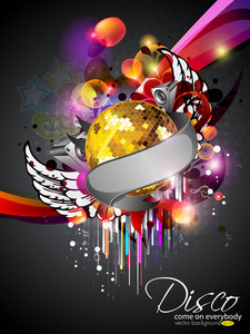 Illustration On A Musical Theme Colourful Lights Abstract Background  With Speaker