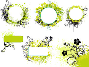 Illustration Set Of Grungy Floral Frame