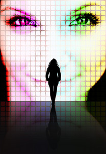 Illustration with a silhouette of a woman looking at another pretty womans face on a screen.
