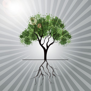 Illutration Of A Tree With Grungy Effect On Grey Rays Background.