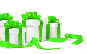 Set of gift boxes with a tape