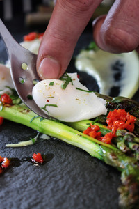 Plated Asparagus And Poached Quail Egg Appetizer